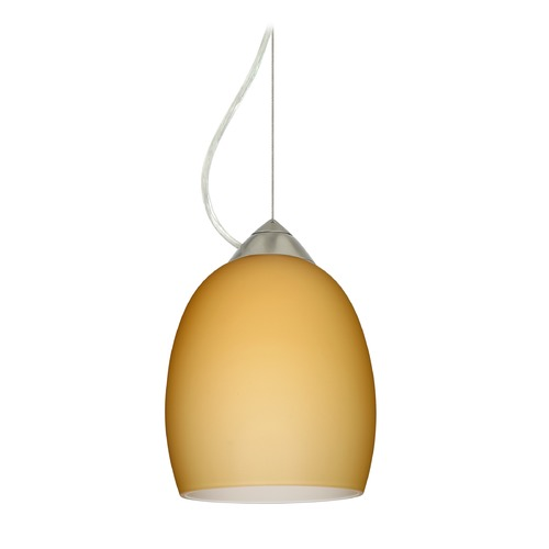 Besa Lighting Besa Lighting Lucia Satin Nickel LED Mini-Pendant Light with Bell Shade 1KX-1697VM-LED-SN