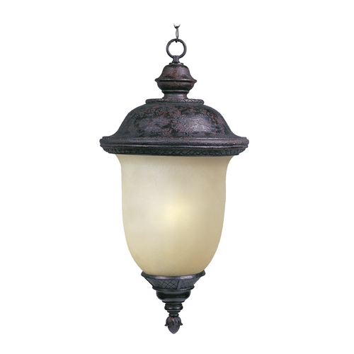 Maxim Lighting Outdoor Hanging Light with Beige / Cream Glass in Oriental Bronze Finish 85527MOOB