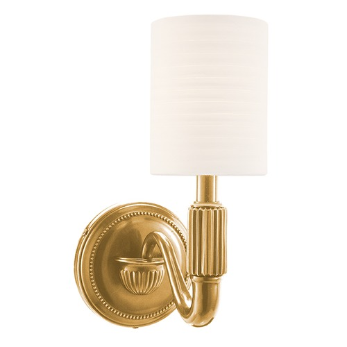 Hudson Valley Lighting Sconce Wall Light with White Shade in Aged Brass Finish 401-AGB