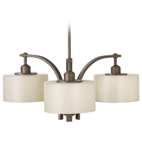Sea Gull Lighting Modern Chandelier with White Glass in Corinthian Bronze Finish F2403/3CB