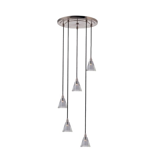Hudson Valley Lighting Modern Multi-Light Pendant Light with Clear Glass and 5-Lights 3515-SN-B-003