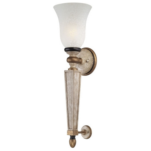 Minka Lavery Sconce Wall Light with White Glass in Provence Patina Finish 1238-580