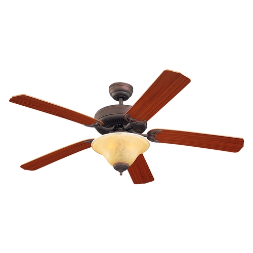 Monte Carlo Fans Ceiling Fan with Light in Bronze / Light Tea Stain Finish 5HS52RBS-L