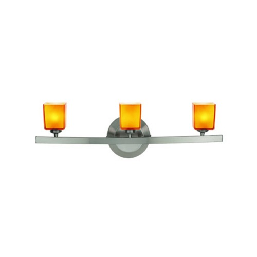 Access Lighting Modern Bathroom Light with Amber Glass in Matte Chrome Finish 63813-18-MC/AMB