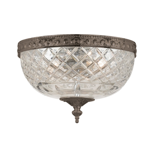 Crystorama Lighting Flushmount Light with Clear Glass in English Bronze Finish 117-10-EB