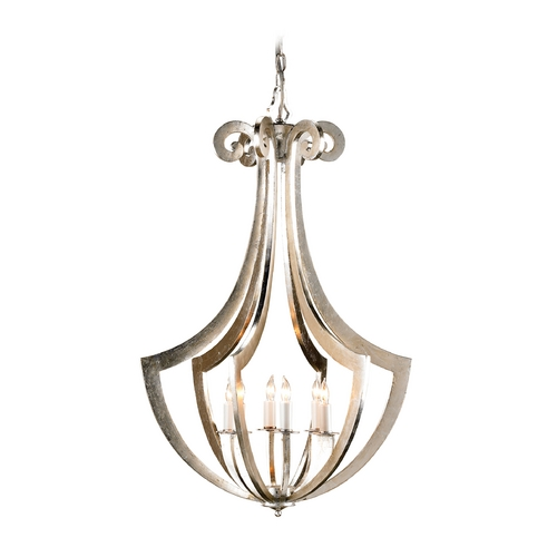 Currey and Company Lighting Modern Pendant Light in Contemporary Silver Leaf Finish 9639