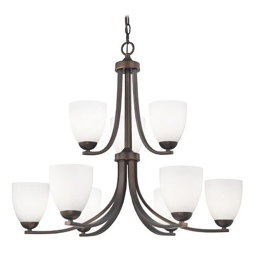 Design Classics Lighting Nine Light Chandelier with Opal White Bell Glass in Bronze Finish 586-220 GL1024MB
