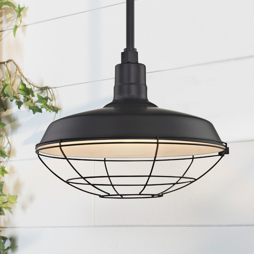 Recesso Lighting by Dolan Designs Black Pendant Barn Light with 16