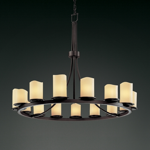 Justice Design Group Justice Design Candlearia 15-Light Chandelier in Dark Bronze CNDL-8715-14-CREM-DBRZ