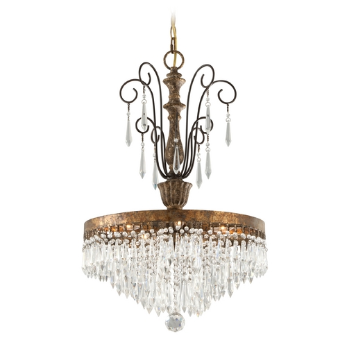 Troy Lighting Troy Lighting Le Marais Gold Leaf with Distressed Wood Crystal Chandelier F3775