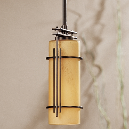 Hubbardton Forge Lighting Hubbardton Forge Lighting Paralline Dark Smoke Mini-Pendant Light with Cylindrical Shade 18352-202-07-H117
