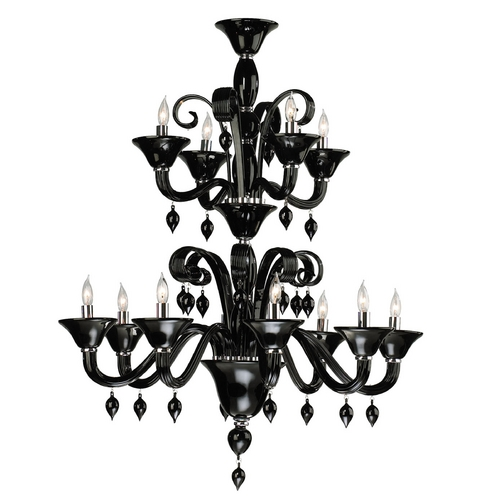 Cyan Design Cyan Design Treviso Chrome with Black Chandelier 6494-12-14