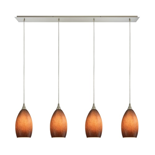 Elk Lighting Elk Lighting Earth Satin Nickel Multi-Light Pendant with Bowl / Dome Shade 10510/4LP-SND