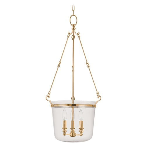 Hudson Valley Lighting Drum Pendant Light with Clear Glass in Aged Brass Finish 133-AGB