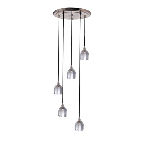 Hudson Valley Lighting Modern Multi-Light Pendant Light with Clear Glass and 5-Lights 3515-SN-B-004