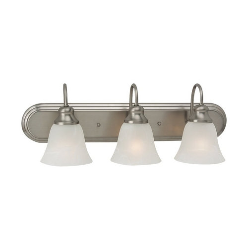 Sea Gull Lighting Bathroom Light with Alabaster Glass in Brushed Nickel Finish 44941-962