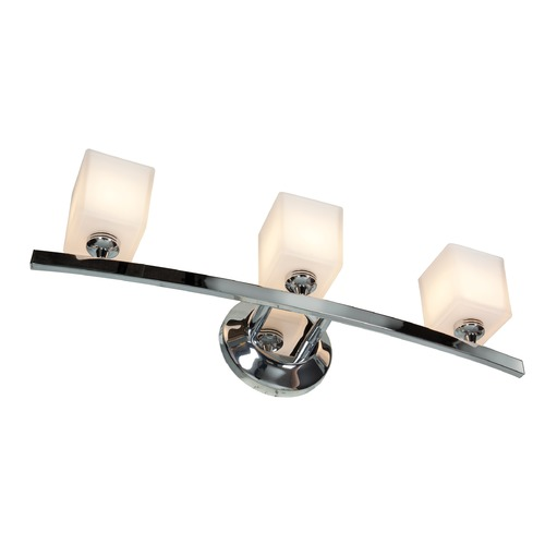 Access Lighting Modern Bathroom Light with White Glass in Chrome Finish 63813-18-CH/OPL