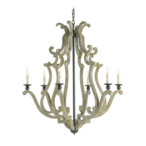 Currey and Company Lighting Chandelier in Old Iron Finish 9636