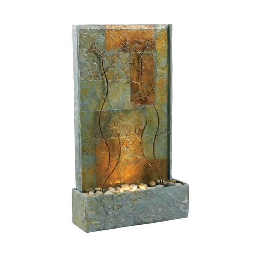 Kenroy Home Lighting Modern Fountain in Natural Green Slate with Decorative Metal Accents Finish 50379SL
