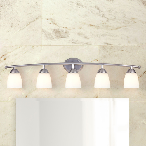 Design Classics Lighting Bathroom Light with White Glass in Satin Nickel Finish 8945-09