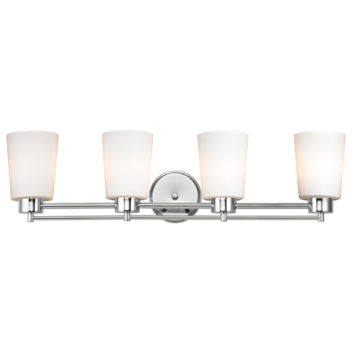Design Classics Lighting Modern Bathroom Light with White Glass - Four Lights 704-26 GL1027