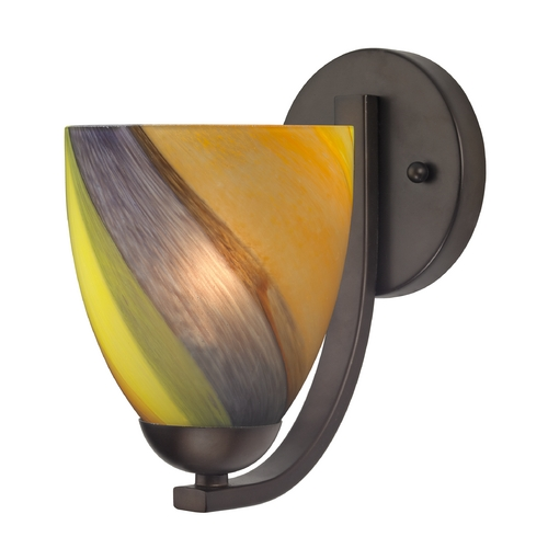Design Classics Lighting Sconce with Art Glass in Bronze Finish 585-220 GL1015MB