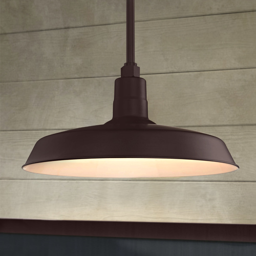 Recesso Lighting by Dolan Designs Bronze Pendant Barn Light with 18-Inch Shade BL-STM-BZ/BL-SH18-BZ