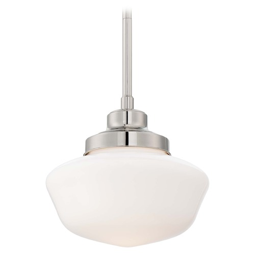 Minka Lavery Drum Pendant Light with White Glass in Polished Nickel Finish 2254-613