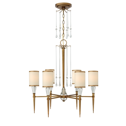 Frederick Ramond Chandelier with Beige / Cream Shades in Brushed Bronze Finish FR44506BBZ