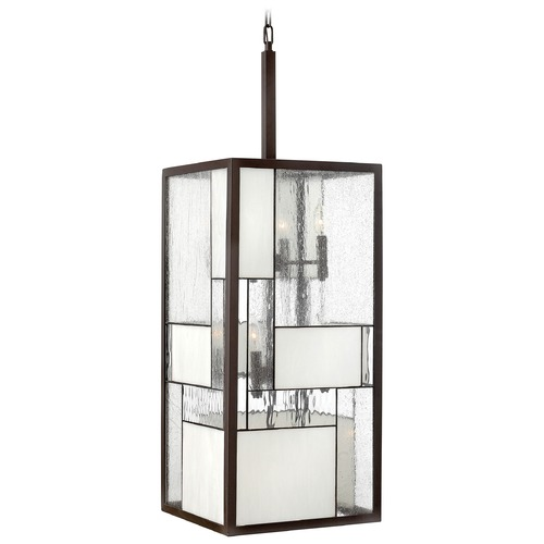Hinkley Lighting Pendant Light with Copper Glass in Buckeye Bronze Finish 4576KZ