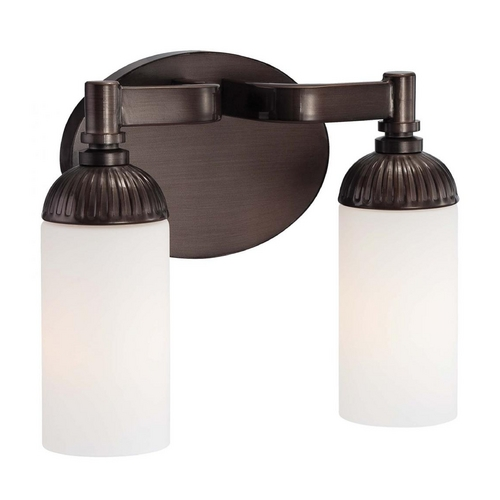 Metropolitan Lighting Bathroom Light with White Glass in Industrial Bronze Finish N2602-590