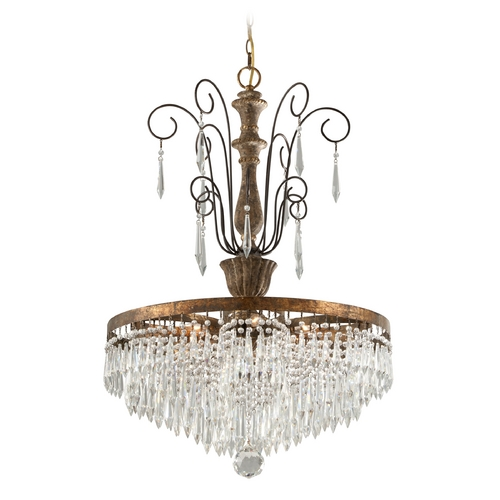 Troy Lighting Troy Lighting Le Marais Gold Leaf with Distressed Wood Crystal Chandelier F3776