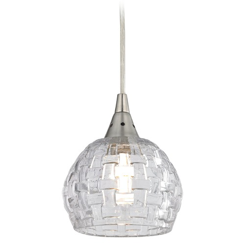 Elk Lighting Elk Lighting Kersey Satin Nickel Mini-Pendant Light with Bowl / Dome Shade 10456/1