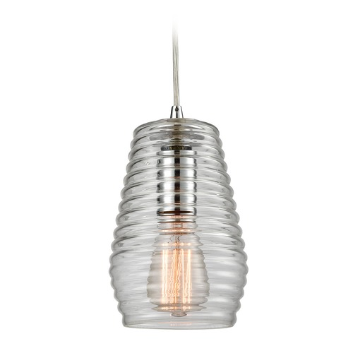 Elk Lighting Elk Lighting Ribbed Glass Polished Chrome Mini-Pendant Light with Fluted Shade 10523/1