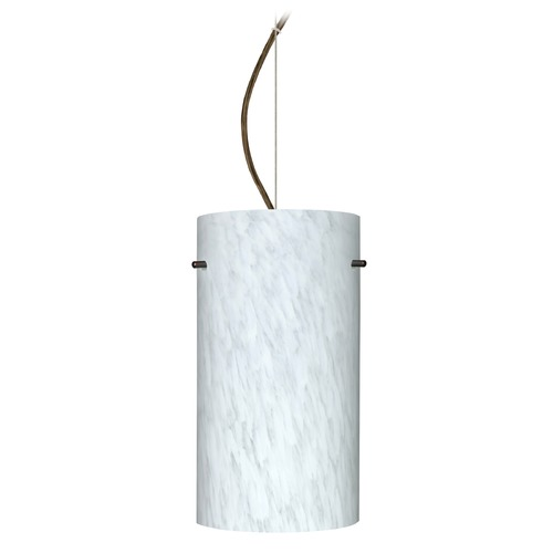 Besa Lighting Besa Lighting Tondo Bronze LED Pendant Light with Cylindrical Shade 1KX-412019-LED-BR