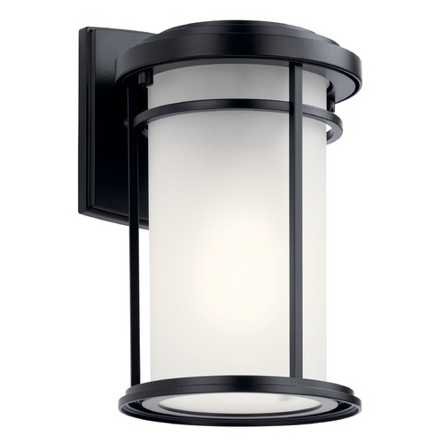 Kichler Lighting Toman Black LED Outdoor Wall Light with Satin Etched Glass 49686BKL18