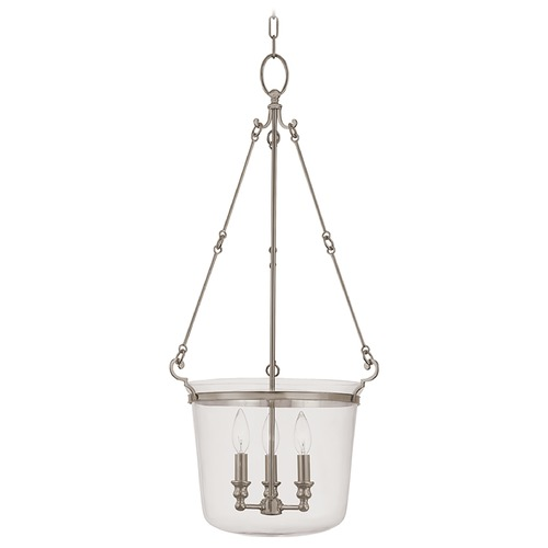 Hudson Valley Lighting Drum Pendant Light with Clear Glass in Historic Nickel Finish 133-HN