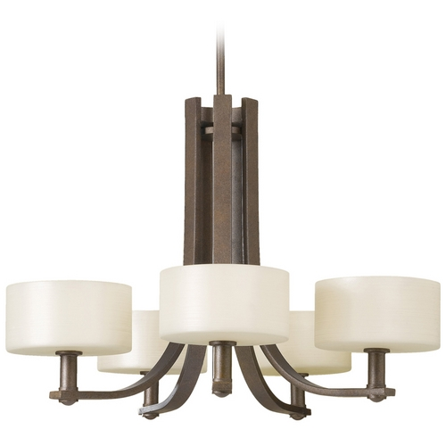 Feiss Lighting Modern Chandelier with White Glass in Corinthian Bronze Finish F2405/5CB