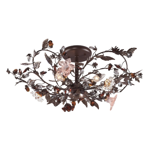 Elk Lighting Semi-Flushmount Light in Deep Rust Finish 7046/3