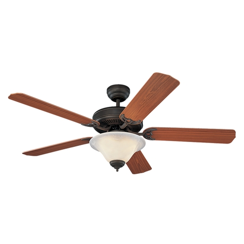 Monte Carlo Fans Ceiling Fan with Light with White Glass in Roman Bronze / White Faux Alabaster Finish 5HS52RBD-L