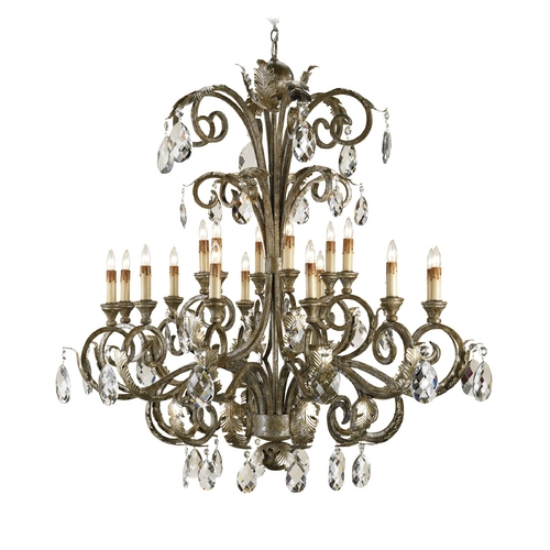 Currey and Company Lighting Crystal chandelier in Italian Silver Finish 9632