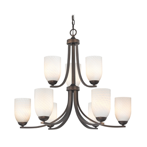 Design Classics Lighting Art Glass Chandelier with Nine Lights in Bronze Finish 586-220 GL1020D