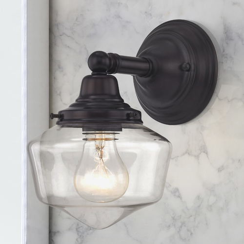 Design Classics Lighting Clear Glass Schoolhouse Sconce Bronze 1 Light 6 Inch Width WC1-220 GF6-CL
