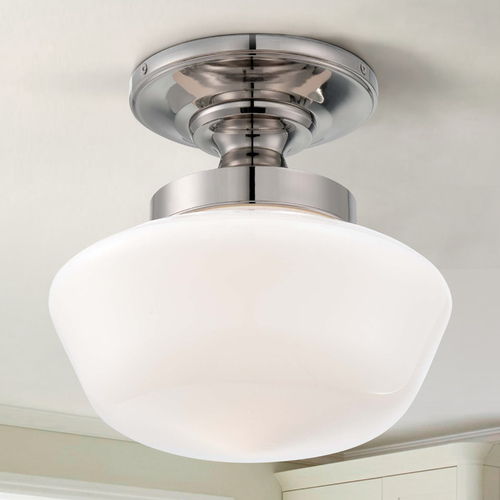 Minka Lavery Semi-Flushmount Light with White Glass in Polished Nickel Finish 2255-613