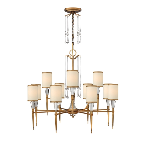 Frederick Ramond Chandelier with Beige / Cream Shades in Brushed Bronze Finish FR44508BBZ