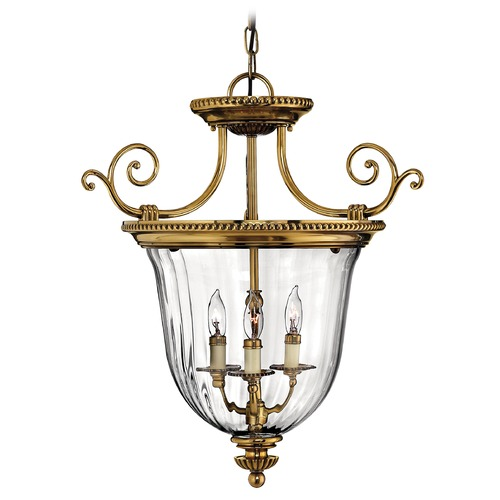Hinkley Lighting Pendant Light with Clear Glass in Burnished Brass Finish 3613BB