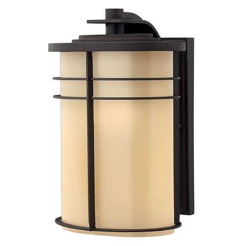 Hinkley Lighting Outdoor Wall Light with Beige / Cream Glass in Museum Bronze Finish 1124MR-GU24