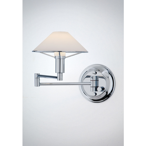 Holtkoetter Lighting Holtkoetter Modern Swing Arm Lamp with White Glass in Chrome Finish 9426 CH TRW