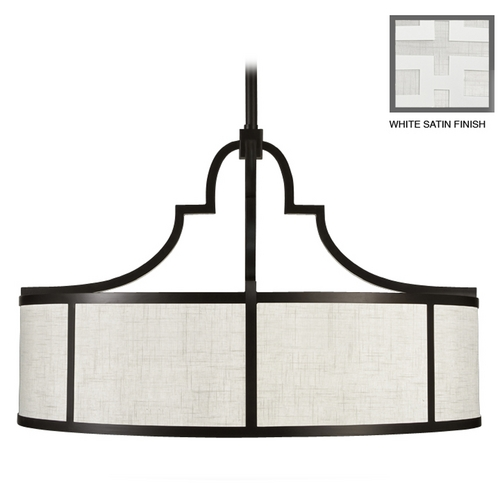 Fine Art Lamps Fine Art Lamps Black + White Story White Satin Lacquer Pendant Light with Drum Shade 601840-5ST