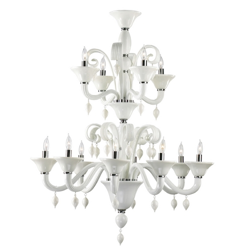 Cyan Design Cyan Design Treviso Chrome with White Chandelier 6496-12-14